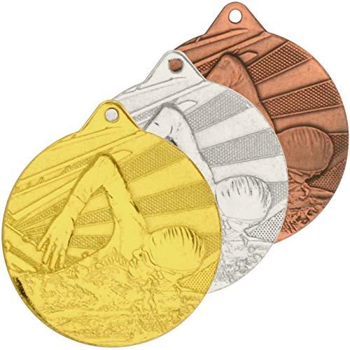 pokalspezialist 10 Stück Medaille Schwimmen 2 Medaillen 50 mm rund Gold