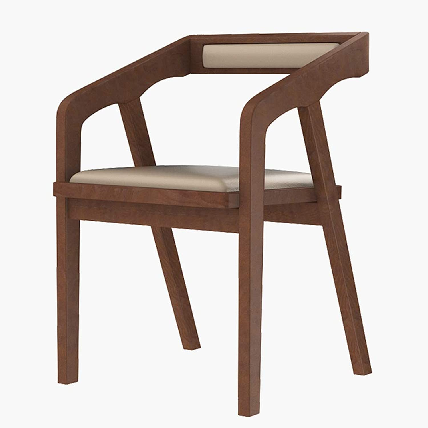 CAIJUN Chair with Backrest Handrail Design Assembly Solid Wood Frame Multipurpose Dining Bar Leisure Simple, 4 colors (color   Brown, Size   46x43x75cm)