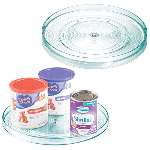 mDesign Plastic Spinning Lazy Susan Turntable Storage Organizer for Kids, Baby/Toddler - Place in Kitchen Cabinet, Pantry, Refrigerator, Countertop - BPA Free & Food Safe - 2 Pack - Sea Blue