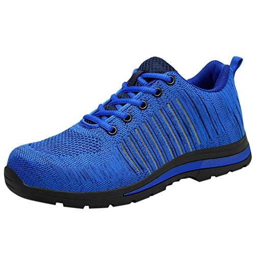 Zapatos de Seguridad para Hombre con Puntera de Acero Zapatillas de Seguridad Trabajo Calzado de Industrial y Deportiva Ligeros Comodos Transpirable Antideslizante(Azul,44)