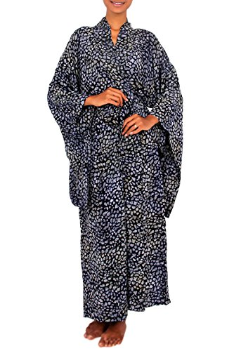 NOVICA Black and Grey Rayon Dotted Batik Robe, Borneo Slate' (One Size Fits All)
