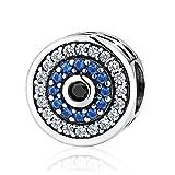 Lovena Crystal Evil Eye Bead Charm 925 Sterling Silber Charms für Pandora, europäischen Armbänder kompatibel