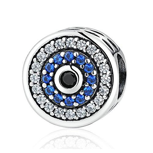 Lovena Crystal Evil Eye Bead Charm 925 Sterling Silber Charms für europäischen Armbänder kompatibel