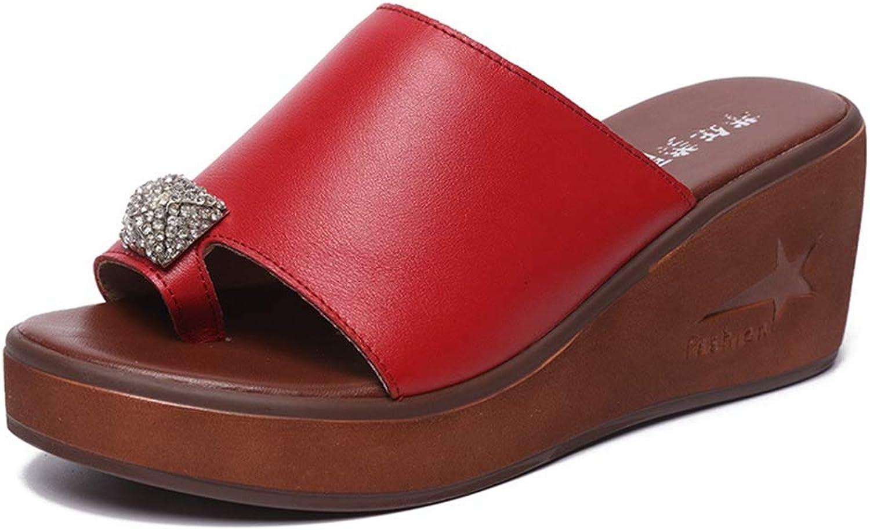 Btrada Summer Women Platform Wedges Heels Crystal Slippers Thick Sole Sandals Ladies Flip Flops shoes