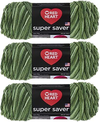 Red Heart Super Saver Yarn (3-Pack) Green Tones E300-629
