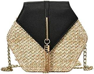 Women Handbag, Straw & Leather Bag, Summer Beach Handbag, Chain Shoulder Ladies Purse, Bohemian Woven Crossbody Bags.