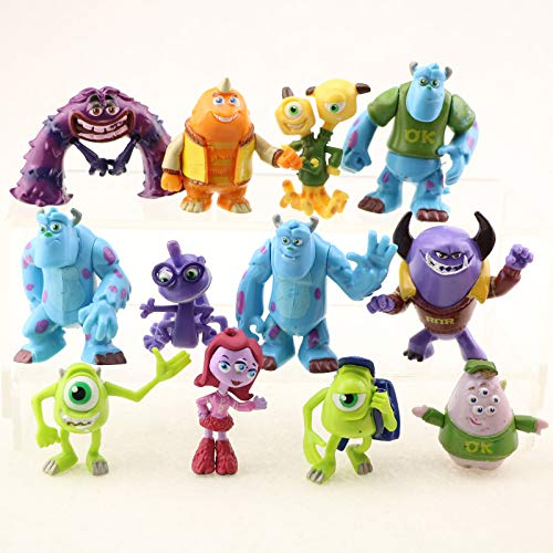 ELSANI Monsters Party Cake Topper Favors Goody Bag Fillers Set of 12 Figures with Mike Wazowski, Sulley, Art, Two Headed Terri and Terry and More