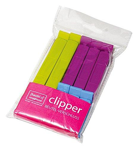 homiez 8er Set Verschlussclips Clipper, Tüten-Klippverschluss, Beutelverschluß-Clips, 2 x 10 cm grün, 3 x 7,5 cm pink, 3 x 5 cm hellblau