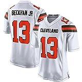 SXFGML Football Cleveland Browns 13# Beckham Jr T-Shirt Jersey Bequem Und Atmungsaktiv Trikot,American Football Shirt,Weiß,M