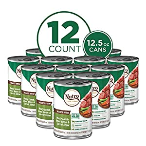 NUTRO HEARTY STEW Adult High Protein Natural Wet Dog Food Cuts in Gravy Meaty Lamb, Green Bean & Carrot Stew, (12) 12.5 oz. Cans
