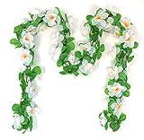 Fahrradgirlande künstliche Blumengirlande ca. 130 cm zum Verschönern Ihres Fahrrades oder Ihrer Wohnung (Weiß – Margarite)