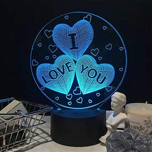 NaiCasy ilusión 3D I Love You corazón luz de Noche LED romántica lámpara de Noche Decoración de la Mesa