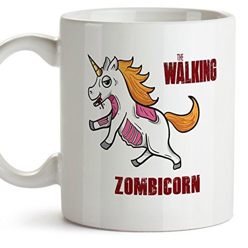 Einhorn-Becher (auf Englisch) - THE WALKING ZOMBICORN - Unicorn mug/Kaffeetasse als Geschenk für The Walking Dead Fans und für Einhorn-Fans - Keramik - 11oz / 350 ml