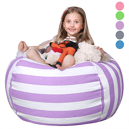 WEKAPO Stuffed Animal Storage Bean Bag Chair Cover for Kids | Stuffable Zipper Beanbag for...