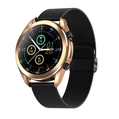 Smartwatch para Mujer, Hombr, Reloj Inteligente Deportivo Impermeable IP67 para Android iOS, Llamadas Bluetooth, Monitor de Sueño, Pulsómetro, Cronómetros, Control de Musica,Gold