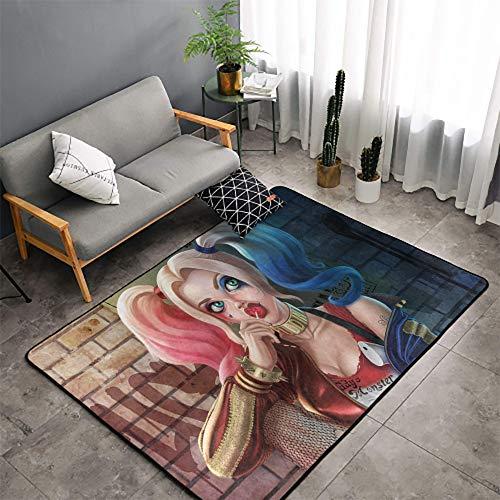 Harley Quinn alfombra alfombra Harley Quinn moderna área alfombra para niños sala de juegos dormitorio lugar para descansar 5 pies x 7 pies (150 x 210 cm)