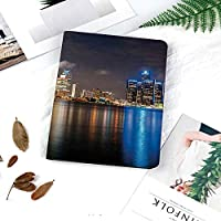 iPad Air96 ケース 超薄型 超軽量 TPU 対応 キズ防止 指紋防止 [オート スリープ/スリー プ解除] 印刷パターン夜の時間で現代の大都市都市景観デトロイト川カラフルな反射装飾
