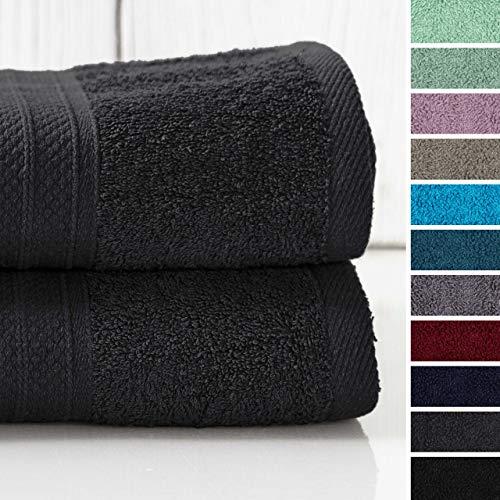 Lumaland Premium 2er Set XXL Badetücher Handtücher Frottee 100 x 150 cm aus 100% Baumwolle 500 g/m² mit Aufhänger anthrazit