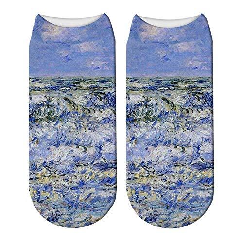 NANAYOUPIN katoen comfortabele sokken (5 paar) Grappige 3D Print Regenboog Sterren Sky Sokken Leuke Vrouwen Unisex Wijn Glas Sokken Meteor Douche Mode Cartoon