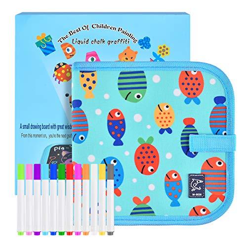 Funkprofi Libro de colorear para niños con 12 lápices de colores, cuaderno de dibujo de graffiti, reutilizable, portátil, fácil de limpiar, 14 páginas (pec)