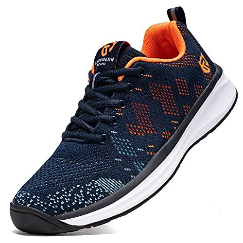 LARNMERN Zapatillas de Running para Hombre Antideslizante Zapatos para Correr y Asfalto Aire Libre y Deportes Calzado Ligero Transpirable(Azul 46)