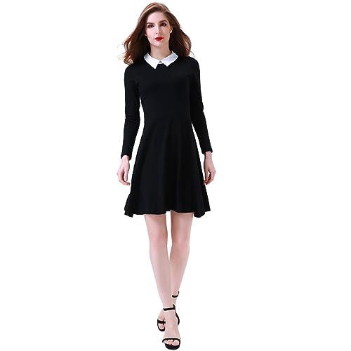 678c708cf72beb Aphratti Women's Long Sleeve Casual Shirt Peter Pan Collar Flare Dress