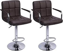 Bar Stool with Arms 2 PCS Square PU Leather Cushion Counter Height Chairs 360 Degree Swivel Back