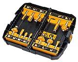 DEWALT - Coffret 12 Fraises de Défonceuse - DT90016-QZ - Set de Fraises à Rainurer bois en Acier avec Coffret de Transport - Manche Ø 8mm - Compatible avec Produits DEWALT