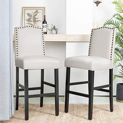 """Glitzhome 45"""" H Bar Stools, Set of 2 Leatherette Bar Chair with Padded Upholstered Seat and Nail Head Studded, Solid Rubberwood Legs for Kitchen Dining Room Side Chairs, White"""
