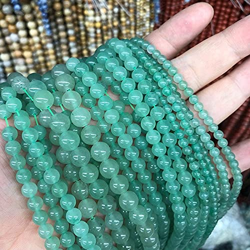 YUXIwang Pulsera Piedra de la aventurina Verde Natural de la aventurina Redonda de Las Perlas espaciadoras Sueltas para la fabricación de Joyas de Bricolaje Collar de Bricolaje 4/6/8/10 / 12mm 15'Str