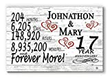 Broad Bay Personalized 17 Year Anniversary Sign Gift Seventeenth Wedding Anniversary 17th for Couple Him Or Her Days Minutes Years