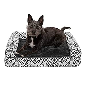 Furhaven Pet Dog Bed – Memory Foam Plush Kilim Southwest Home Decor Traditional Sofa-Style Living Room Couch Pet Bed with Removable Cover for Dogs and Cats, Boulder Gray, Small