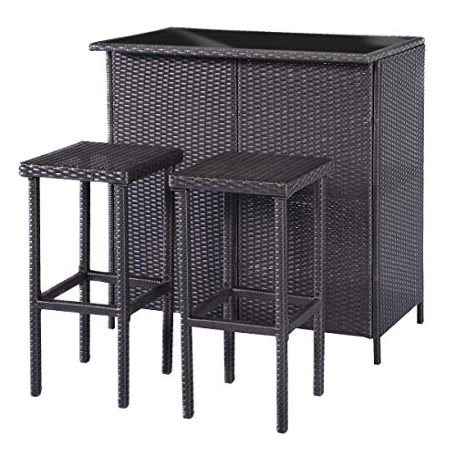 MCombo Patio Bar Set,Wicker Outdoor Table and 2 Stools,3 Piece Patio Furniture with Storage for Poolside,Backyard,Garden,Porches 6085-1201BK