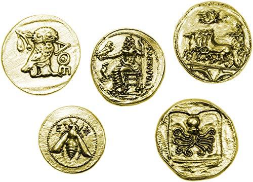 Eurofusioni Monedas Griegas Antiguas chapada de Oro - Reproducción Tetradrachm - Set 5 Piezas