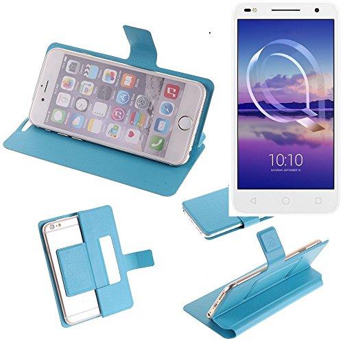 K-S-Trade Flipcover für Alcatel U5 HD Dual SIM Schutz Hülle Schutzhülle Flip Cover Handy case Smartphone Handyhülle blau