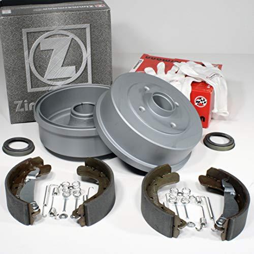 Autoparts-Online Set 60015433 Zimmermann Bremstrommeln ABS-Sensorringe Bremsbacken Zubehör für hinten die Hinterachse