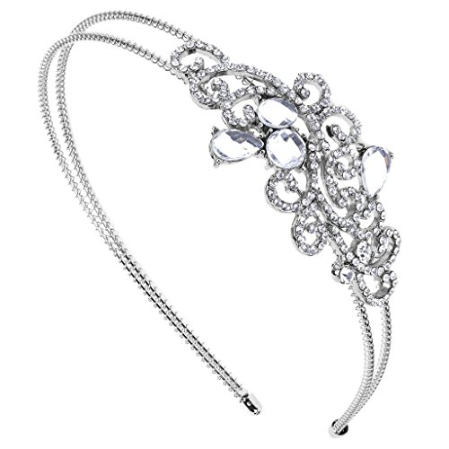 LUX ACCESSORIES Elegant Crystal Bridal Bride Wedding Bridesmaid Tear Drop Stretch Headband