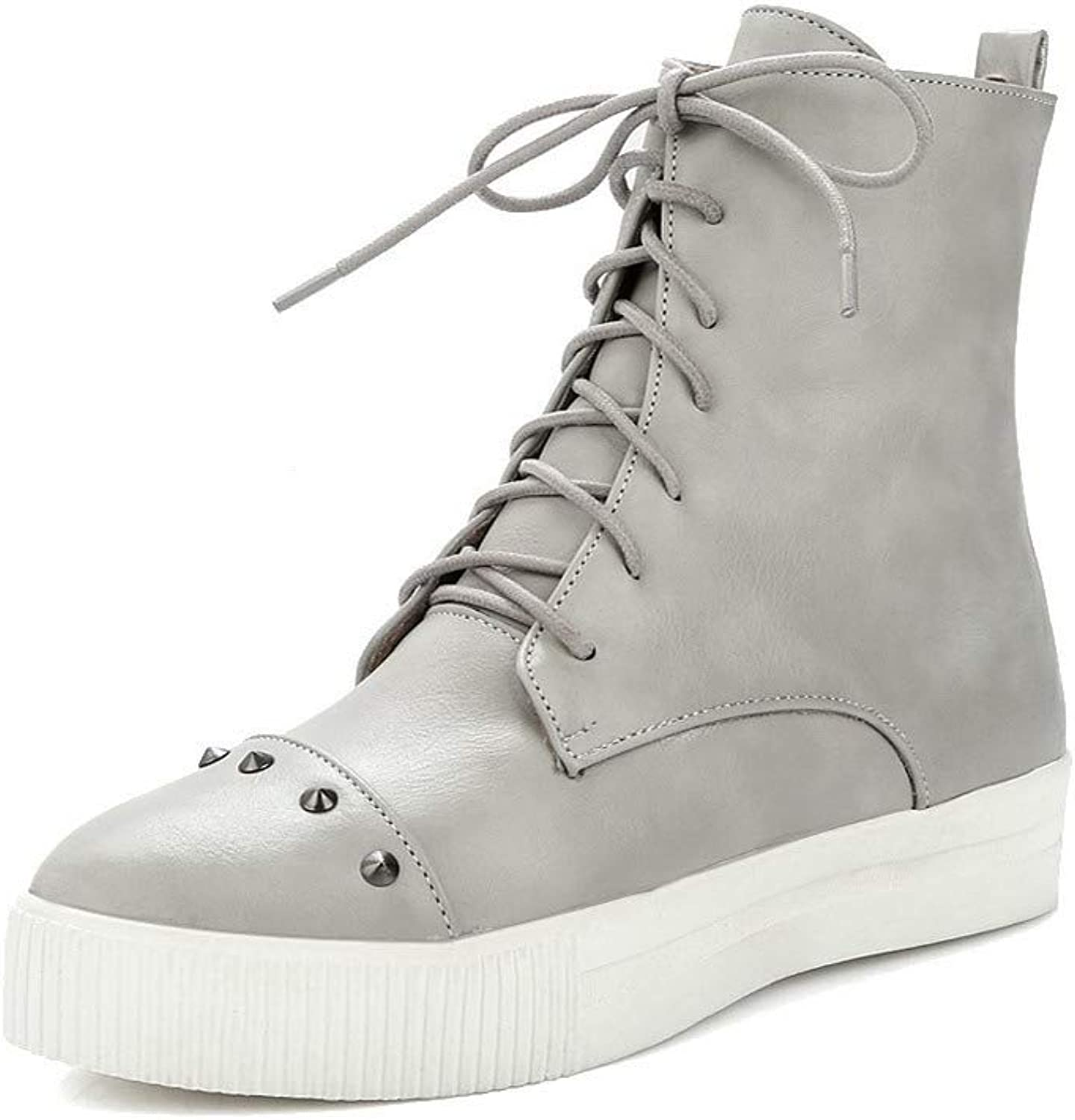 WeiPoot Women's Lace-Up Round-Toe Low-Heels Pu Low-Top Boots, EGHXH120716