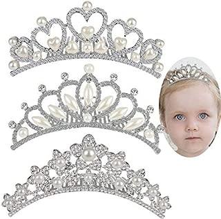 ANBALA Rhinestone Crown Hair Comb, 3 Pack Sweet Crystal Tiara Crown Headbands Princess Hair Accessories for Flower Bridesmaid