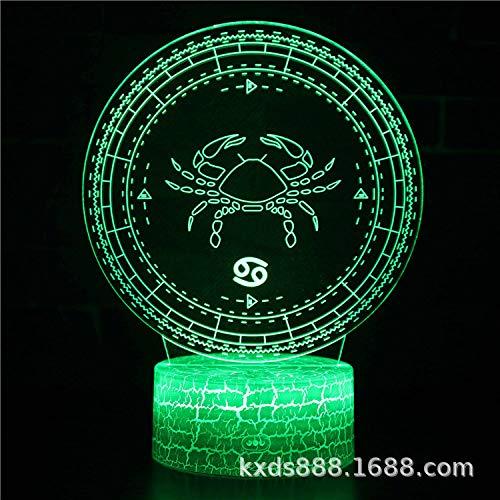 GNLK 3D Nachtlicht,Kreative Zwölf Sternbilder Cancer Illusion Optische Lampe 7 Farbwechsel Nachttischlampe Mit Touch-Fernbedienung USB-Ladetischlampe Geschenk Für Kinder Kinderzimmerdekoration