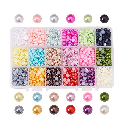 PandaHall Elite® ABS Acrylic Cabochons, Imitation Pearl, Half Round, Mixed Color<P>Size: About 6mm in Diameter, 3mm Thick.