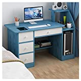 Simple Desktop Computer Desk,Home Office Writing Study Desk for Bedroom,Modern Laptop Computer Desk for Students & Office,with 4 Drawers,Computer Mainframe Rack,Large Storage Capacity (Blue)
