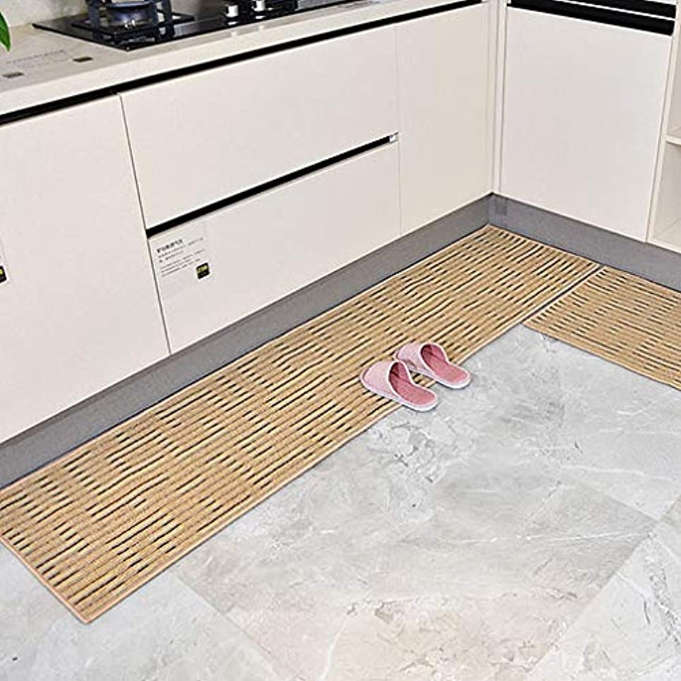 ミル夫興味キッチン 食品 アンチ スリップ 床の敷物, 長方形 吸水 汚れ抵抗 証拠をオイル 食品 の ベッド 靴箱-ブラウン 50x220cm