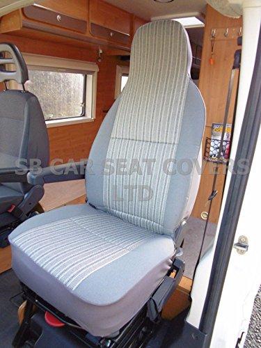 R - Apto para Fiat Ducato Motorhome, fundas de asiento, rayas grises MH-068