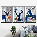 JRLDMD Dear Flower Paris Tower Big Ben Wall Art Canvas Painting Carteles nórdicos e Impresiones Imágenes de Pared para la decoración de la Sala de Estar 50x70cmx3 Sin Marco