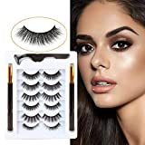 Bellameri Non Magnetic Eyelashes with Eyeliner, No Glue Needed, Reusable and Easy Remover False Eyelashes(6 Styles Eyelashes and 2 Tubes of Magic Eyeliner)