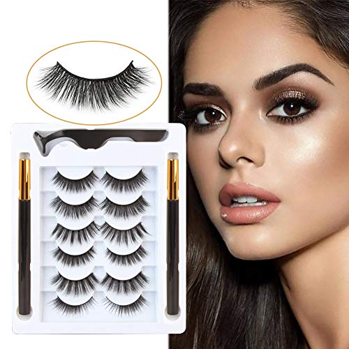 Ollorata Non Magnetic Eyelashes with Eyeliner, No Glue Needed, Reusable and Easy Remover False Eyelashes(6 Styles Eyelashes and 2 Tubes of Magic Eyeliner)