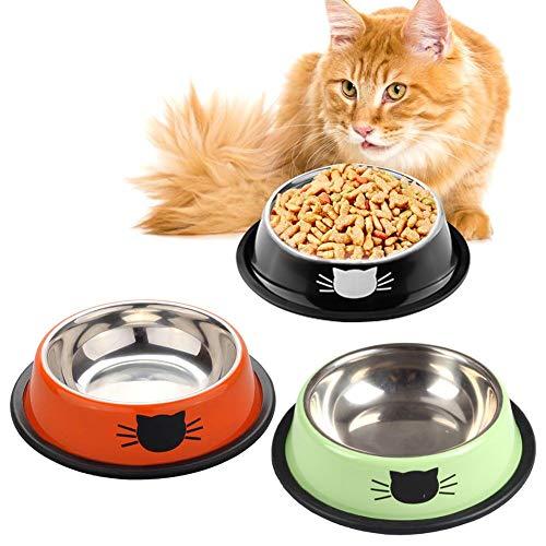 SaponinTree Ciotole Gatto, 3 Pezzi Scodella per Gatto in Acciaio Inox, 2 in 1 Ciotola per Cani Gatti Fondo Antiscivolo Ciotole per Alimenti e Acqua, Tappetino Silicone Antiscivolo
