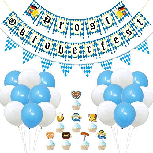 Oktoberfest Deko - blau/weiße bayrisch Wiesn Dekoration Banner 10m Bayrisch Wimpelkette Luftballons Kuchen Topper Oktoberfest Party Dekoration Set