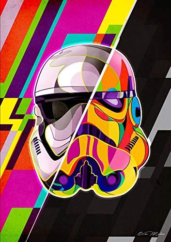 Película de ciencia ficción de Hollywood casco de soldado de estrella colorido abstracto Stormtrooper Wars lienzo pintura póster de arte de pared sala de estar dormitorio decoración del hogar